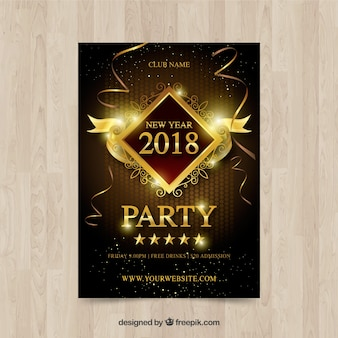 Cartel de año nuevo dorado