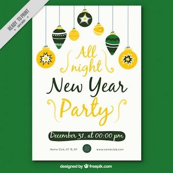 Cartel año nuevo con elementos navideños dibujados a mano
