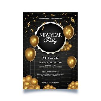 Cartel de año nuevo con globos