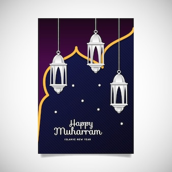 Cartel de año nuevo islámico de estilo de papel