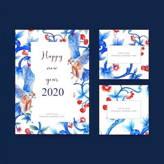 Cartel de año nuevo, postal elegante para decoración