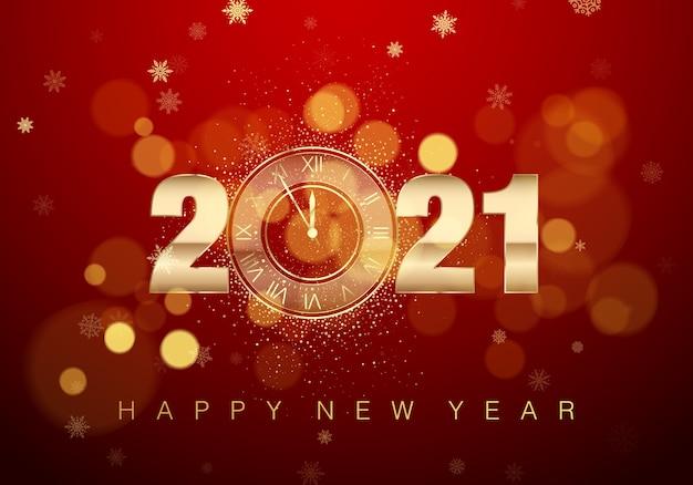 Cartel de año nuevo con texto de felicitación. reloj dorado en lugar de cero. cuenta regresiva de medianoche de vacaciones en colores rojos.