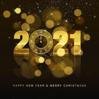 Cartel de año nuevo con texto de felicitación. reloj dorado en lugar de cero. elemento de decoración navideña para banner o invitación. cuenta regresiva de medianoche de vacaciones.