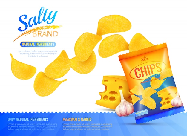 Cartel de anuncio de bocadillos salados