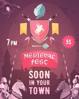 Cartel de anuncio de fiesta medieval