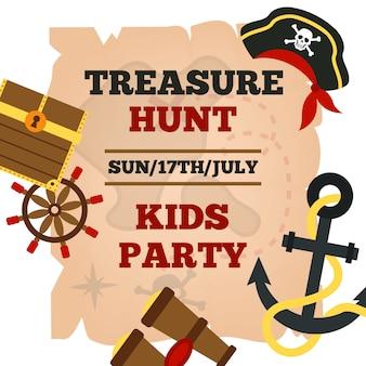 Cartel de anuncio de fiesta de niños de piratas