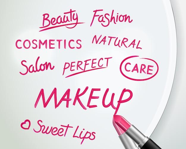 Cartel del anuncio del maquillaje de la belleza de los cosméticos con palabras escritas a mano realistas del lápiz labial rojo