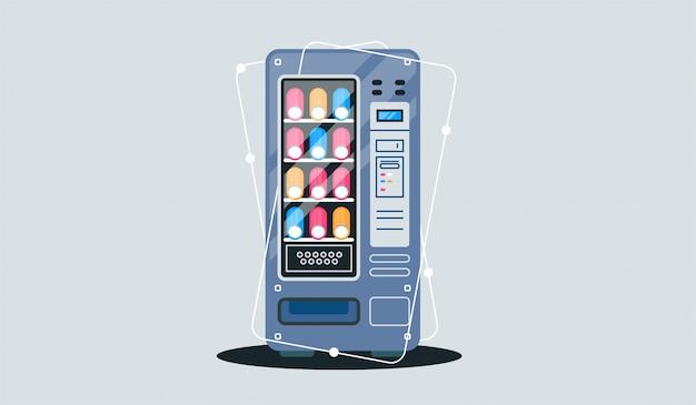 Cartel de anuncio de máquina expendedora vintage con set de envases de aperitivos y bebidas