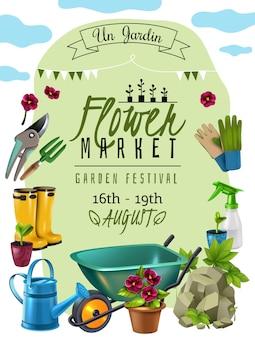 Cartel de anuncio del mercado de flores del festival de plantas de cabaña con fechas de eventos y accesorios de herramientas de jardinero