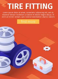 Cartel de anuncio de montaje de neumáticos para aplicación móvil