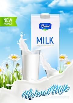 Cartel de anuncio de paquete de leche rústica natural realista con salpicaduras de leche de vidrio y campo de manzanilla con ilustración de texto