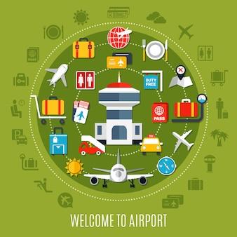 Cartel de anuncio plano de pasajeros de viajes aéreos de bienvenida al aeropuerto internacional con símbolos de servicio disponibles círculo fondo verde
