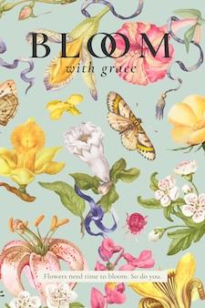 Cartel de anuncio de plantilla floral hermosa editable