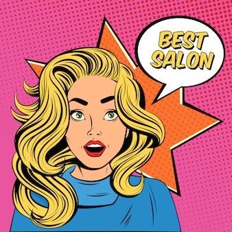 Cartel de anuncio de salón de peinado de joven dama