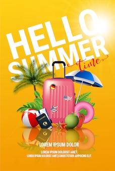 Cartel de anuncio de vacaciones de verano tropical isla beach resort