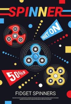 Cartel de anuncio de venta de fidget spinners