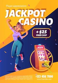 Cartel del anuncio de la victoria del casino del jackpot de la máquina tragamonedas