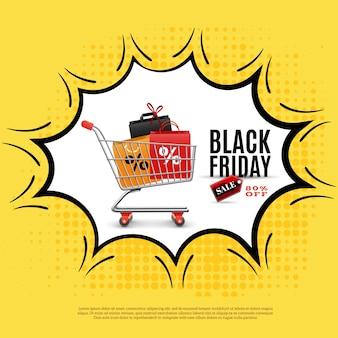 Cartel de anuncio de viernes negro sobre fondo amarillo con carrito de compras en ilustración de burbuja cómica