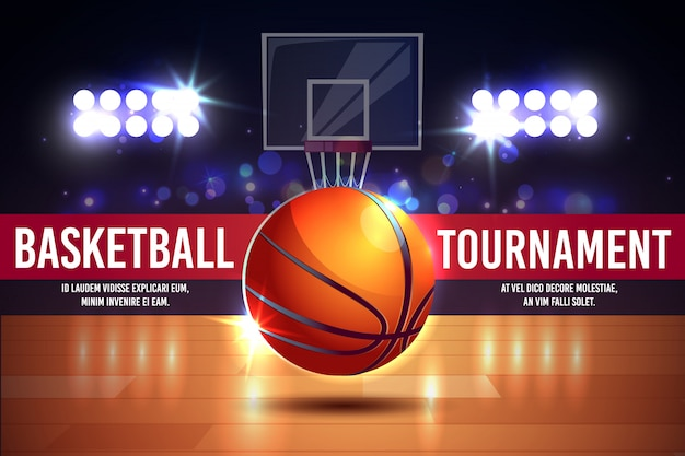 Cartel de anuncios de dibujos animados, banner con torneo de baloncesto - bola brillante en una cancha.