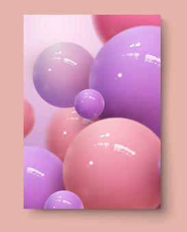 Cartel de anuncios de festival de música electrónica. invitación fiesta club espuma moderna. ilustración con esferas abstractas 3d