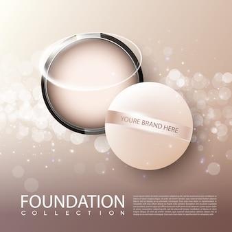 Cartel de anuncios de productos cosméticos femeninos de la fundación