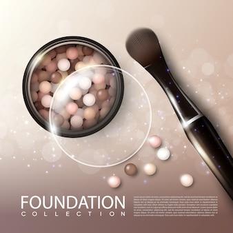 Cartel de anuncios de productos de maquillaje realista