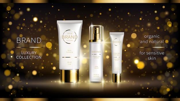 Cartel de anuncios realistas de la serie cosmética de noche intensamente revitalizante