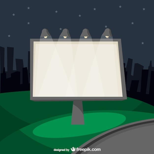 Cartel de anuncios urbano de noche