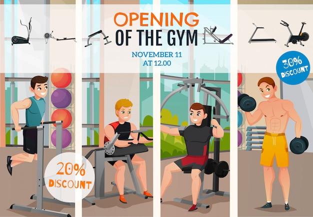 Cartel de apertura del gimnasio