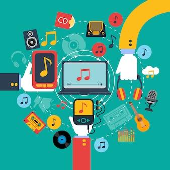 Cartel de aplicaciones de música retro a la antigua usanza con 3 manos sosteniendo tabletas y teléfono móvil