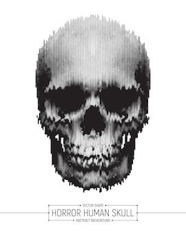 Cartel del arte del cráneo del horror humano del vector