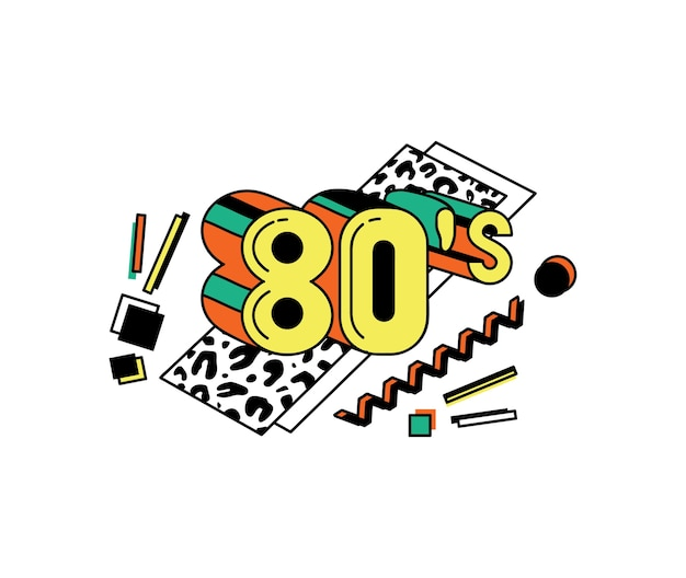 Cartel de arte pop de los 80 o telón de fondo de banner en estilo discoteca colorido, ilustración de dibujos animados sobre fondo blanco. para música retro y fiesta de baile.