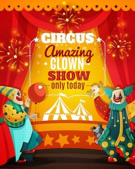 Cartel asombroso del aviso de la demostración del payaso del circo