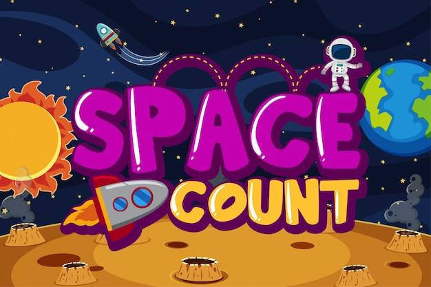 Cartel con astronauta y nave espacial en el espacio