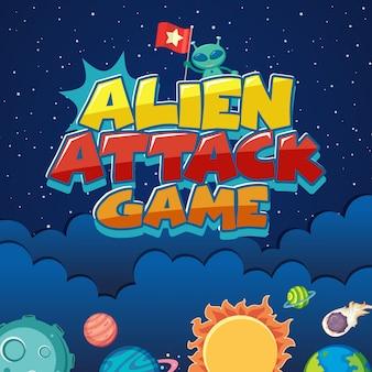 Cartel con ataque alienígena en el espacio