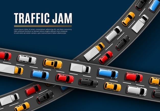Cartel de atasco de tráfico con coches conduciendo en la vista superior de la carretera