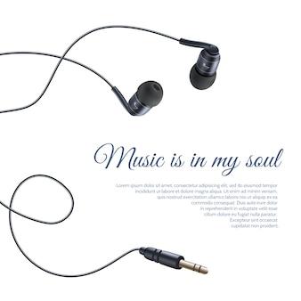 Cartel de auriculares realista