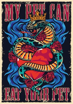 Cartel auténtico tatuaje colorido