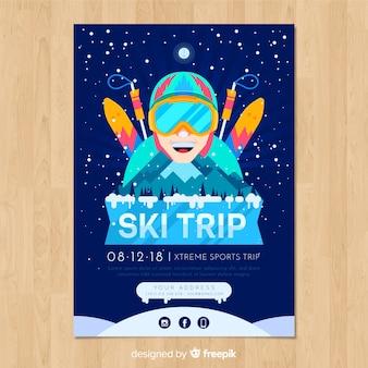 Cartel de aventura esquiando