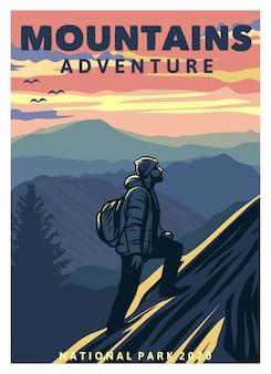 Cartel de aventura en la montaña