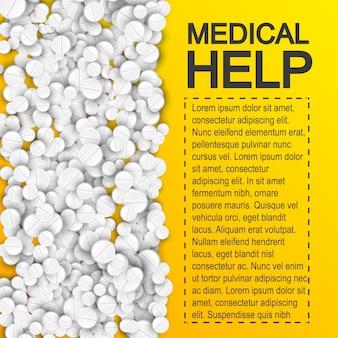 Cartel de ayuda médica farmacéutica con píldoras medicamentos y lugar para su texto en amarillo