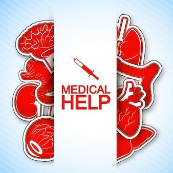 Cartel de ayuda médica con muchas imágenes de órganos humanos, incluido el corazón.