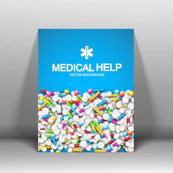 Cartel de ayuda médica con píldoras cápsulas
