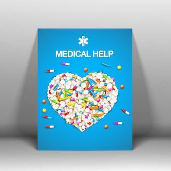 Cartel azul de atención médica con pastillas de colores, medicamentos, remedios y cápsulas en forma de ilustración de corazón