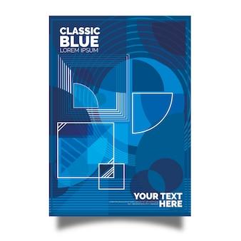 Cartel azul clásico con diseño geométrico abstracto