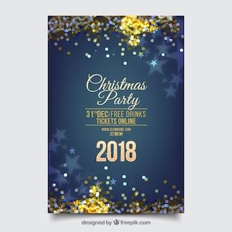 Cartel azul con elementos brillantes de fiesta de año nuevo