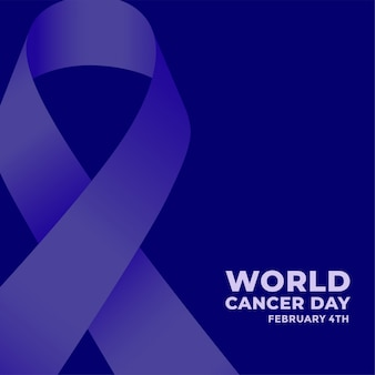 Cartel azul del día mundial del cáncer con cinta
