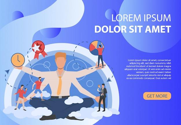 Cartel azul marino con empresario y diferentes actividades.