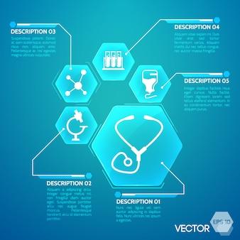 Cartel azul de medicina y farmacia con ilustración plana de símbolos de hospital