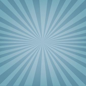 Cartel azul con rayos de sol y rayos.